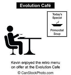 Evolution Cafe - Kevin enjoying a meal out cartoon isolated...