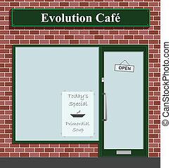 Evolution Cafe advertising todays special Primordial Soup