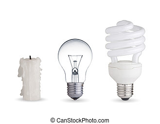 Candle, tungsten light bulb and fluorescent bulb. Isolated on white background