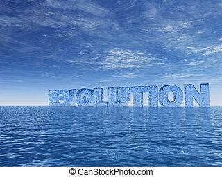 evolution - the word evolution at the ocean - 3d...