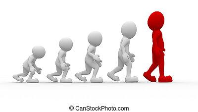 Evolution  - 3d people - men, person a suggestion evolution
