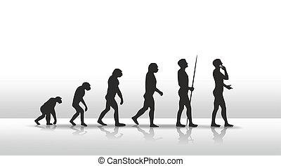 evolution - illustration of human evolution ending with...