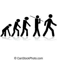 Evolution - Concept illustration showing stick figures...