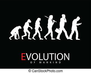 Evolution - Vector illustration of evolution from monkey to...