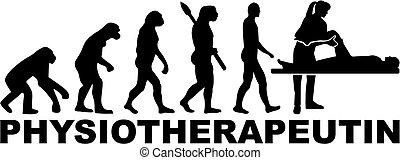 evolution., duitser, title., werk, therapist, vrouwlijk, lichamelijk