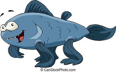 Evolution - Amphibious organism on a white background,...