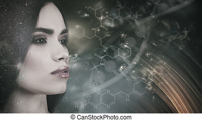 Evolution, female portrait against abstract science backgrounds