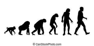 Evolution of a Man, black silhouette