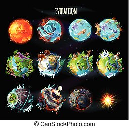 Evolution of Earth, vector concept illustration - Stages of...