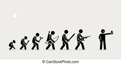 Weapons evolves over the time. Modern human uses camera phone as their weapon of choice.