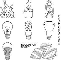 lighting equipment - Evolution of light. Vector linear ...
