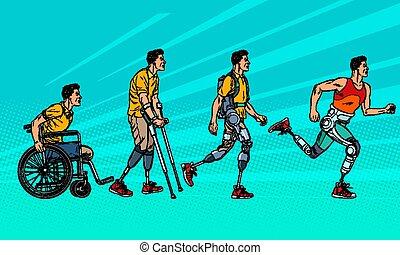 Evolution of rehabilitation. man leg prosthesis. Pop art retro vector illustration vintage kitsch 60s 50s