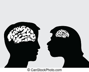 Evolution of the person2 - Two men look in the face. A...