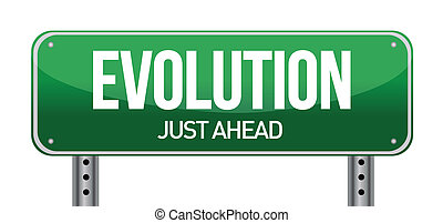 evolution road sign illustration design over white