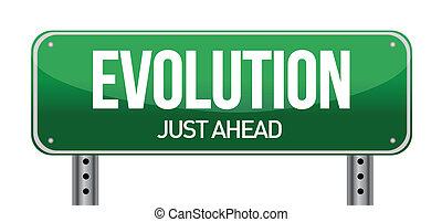 evolution road sign illustration design over white