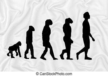 Evolution darwinism theory of man on white silk satin fabric texture.