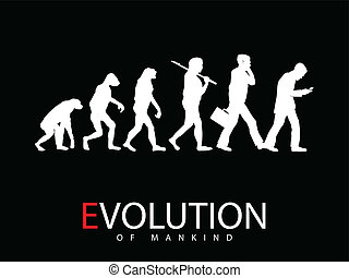 Vector illustration of evolution from monkey to social media addict
