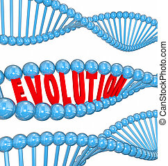 Evolution word in red 3d letters in a strand of DNA as a symbol of science and research into the origin of humanity