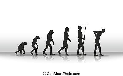 Evolution2 - illustration of human evolution and back...