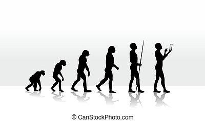 evolution2708b - illustration of human evolution and mobile...