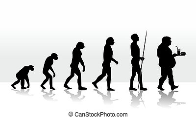 evolution2708d - illustration of human evolution and eating...