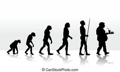 evolution2708d - illustration of human evolution and eating...
