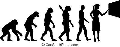 evolutionsphasen, silhouette, lehrer, weibliche