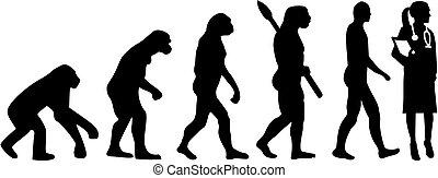 evolutionsphasen, weiblicher doktor