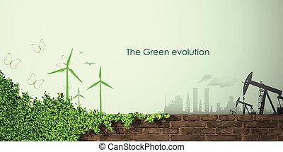 evoluzione, concetto, greening