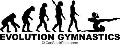 evoluzione, donna, ginnastica, palla