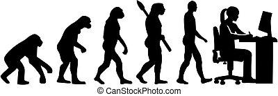 evoluzione, grafico, femmina, artista