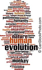 evoluzione, parola, nuvola