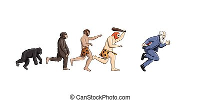 evoluzione, progressione, teoria, umanità, cartone animato, uomo