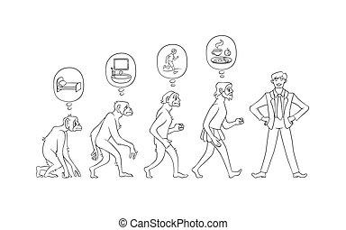 evoluzione, set, illustrazione, mattina, vettore, man.