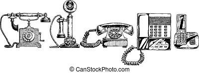 evoluzione, set, telefono