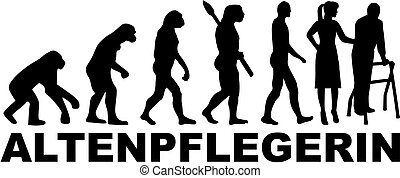 evoluzione, titolo, tedesco, lavoro, femmina, caregiver
