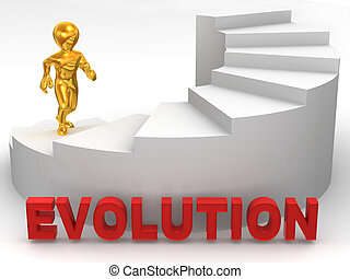evoluzione, uomini, scale., 3d