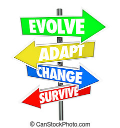 evolvere, adattare, cambiamento, sopravvivere, freccia,...