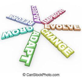 evolvere, fondo, adattare, parole, bianco, cambiamento, 3d