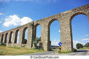 Evora aqueduct, south of Portugal.