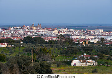 Evora city historic buildings and church view at sunset from a viewpoint on the outside in Alentejo, Portugal