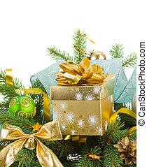 evrgreen, tanne, und, weihnachtsgeschenk, kasten