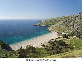 evropa, albánie, ionian, jasný, břeh, prázdniny, pláž