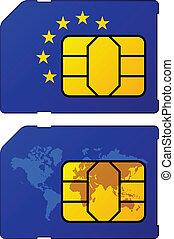 evropa, mapa, prapor, vektor, sim, společnost, karta