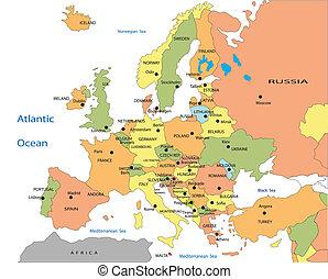 evropa, mapa, veřejný