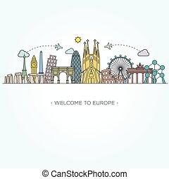 evropa, monument., nakreslit umění, móda