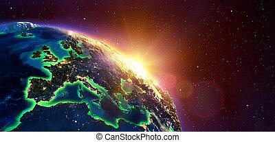 evropa, v, zlatý, východ slunce