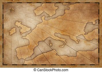 evropa, vinobraní, dávný, grafické pozadí, mapa
