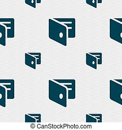 eWallet, Electronic wallet, Business Card Holder icon sign. Seamless pattern with geometric texture. Vector