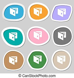 eWallet, Electronic wallet, Business Card Holder  icon symbols. Multicolored paper stickers. Vector